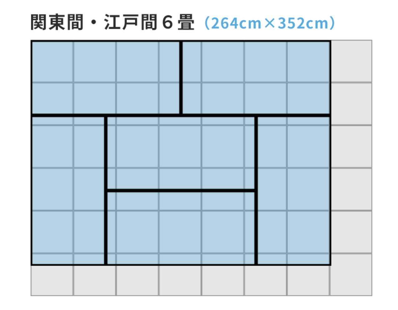 関東間・江戸間6畳(264cm×352cm)